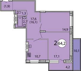ЖК «Президентский», планировка 2-комнатной квартиры, 64.20 м²