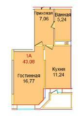 ЖК «Эдельвейс Комфорт», планировка 1-комнатной квартиры, 43.08 м²