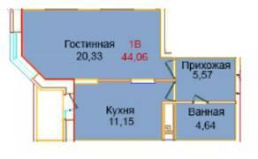 ЖК «Эдельвейс Комфорт», планировка 1-комнатной квартиры, 44.06 м²