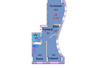 ЖК «Эдельвейс Комфорт», планировка 2-комнатной квартиры, 72.54 м²