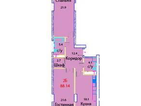 ЖК «Эдельвейс Комфорт», планировка 2-комнатной квартиры, 88.14 м²