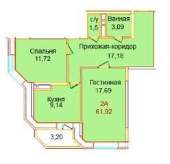 ЖК «Эдельвейс Комфорт», планировка 2-комнатной квартиры, 61.92 м²