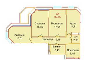 ЖК «Эдельвейс Комфорт», планировка 3-комнатной квартиры, 89.76 м²
