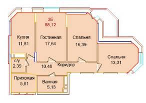 ЖК «Эдельвейс Комфорт», планировка 3-комнатной квартиры, 88.12 м²