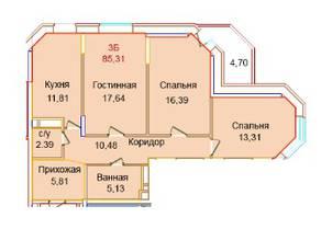 ЖК «Эдельвейс Комфорт», планировка 3-комнатной квартиры, 85.31 м²