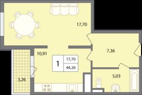 ЖК «Солнечный» (Раменское), планировка 1-комнатной квартиры, 44.26 м²