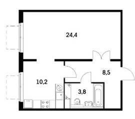 ЖК «Мещерский Лес», планировка 1-комнатной квартиры, 46.30 м²