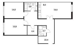 ЖК «Мещерский Лес», планировка 3-комнатной квартиры, 87.20 м²