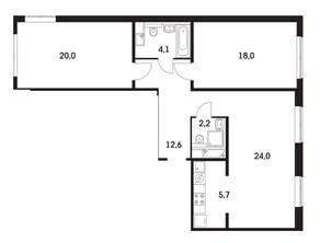 ЖК «Мещерский Лес», планировка 3-комнатной квартиры, 85.60 м²