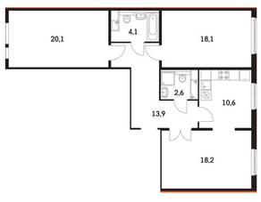 ЖК «Мещерский Лес», планировка 3-комнатной квартиры, 86.80 м²