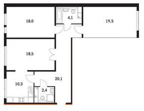 ЖК «Мещерский Лес», планировка 3-комнатной квартиры, 92.70 м²