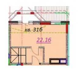МЖК «Европа» (Кузнечики), планировка студии, 22.16 м²