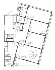 ЖК «V-House», планировка 4-комнатной квартиры, 124.20 м²