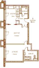 ЖК «Palazzo Imperiale», планировка 2-комнатной квартиры, 71.20 м²