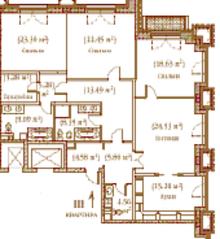 ЖК «Palazzo Imperiale», планировка 4-комнатной квартиры, 164.62 м²