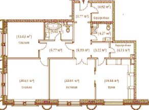 ЖК «Palazzo Imperiale», планировка 3-комнатной квартиры, 120.49 м²