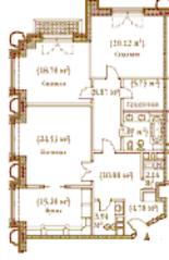 ЖК «Palazzo Imperiale», планировка 3-комнатной квартиры, 128.13 м²