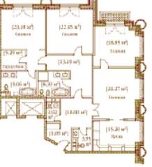 ЖК «Palazzo Imperiale», планировка 4-комнатной квартиры, 172.16 м²