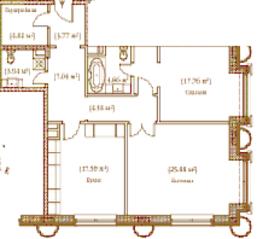 ЖК «Palazzo Imperiale», планировка 2-комнатной квартиры, 93.08 м²