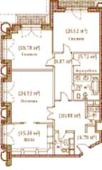 ЖК «Palazzo Imperiale», планировка 3-комнатной квартиры, 130.73 м²
