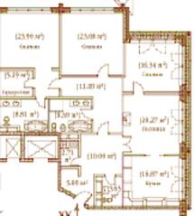 ЖК «Palazzo Imperiale», планировка 4-комнатной квартиры, 171.23 м²