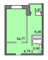 ЖК «Пустовский», планировка 1-комнатной квартиры, 38.67 м²