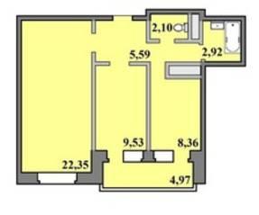 ЖК «Пустовский», планировка 2-комнатной квартиры, 57.41 м²