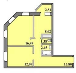 ЖК «Пустовский», планировка 2-комнатной квартиры, 57.34 м²