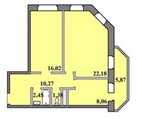 ЖК «Пустовский», планировка 2-комнатной квартиры, 66.23 м²