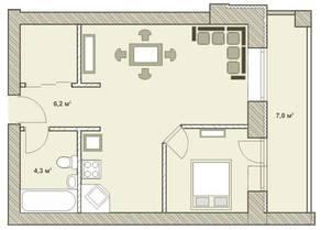 МФК «Яхонтовый лес», планировка 1-комнатной квартиры, 50.00 м²