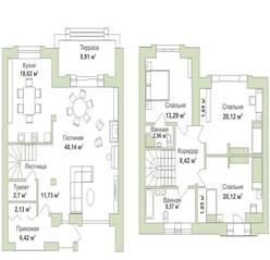 МФК «Яхонтовый лес», планировка 4-комнатной квартиры, 129.20 м²