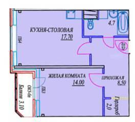 ЖК «Новоснегиревский», планировка 1-комнатной квартиры, 49.40 м²