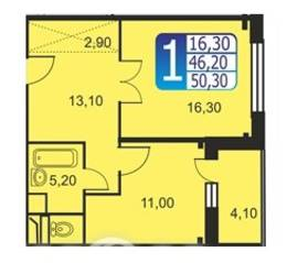 ЖК «Новоснегиревский», планировка 1-комнатной квартиры, 50.30 м²