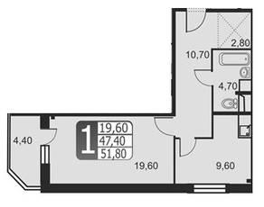 ЖК «Новоснегиревский», планировка 1-комнатной квартиры, 51.80 м²