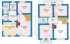 КП «Караськина охота», планировка 5-комнатной квартиры, 84.00 м²