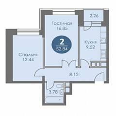 ЖК «Спортивный квартал», планировка 2-комнатной квартиры, 52.84 м²