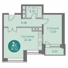 ЖК «Спортивный квартал», планировка 2-комнатной квартиры, 49.56 м²
