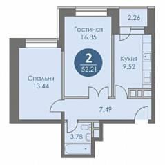 ЖК «Спортивный квартал», планировка 2-комнатной квартиры, 52.21 м²