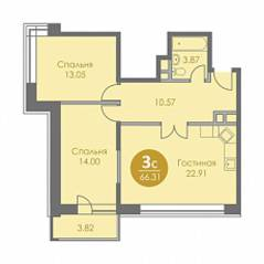 ЖК «Спортивный квартал», планировка 3-комнатной квартиры, 66.31 м²
