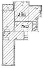 ЖК «Квартал 38А», планировка 3-комнатной квартиры, 133.60 м²