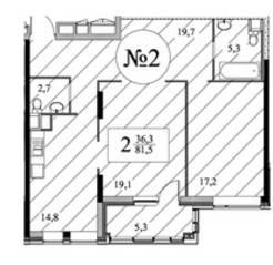 ЖК «Квартал 38А», планировка 2-комнатной квартиры, 81.00 м²
