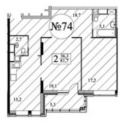 ЖК «Квартал 38А», планировка 2-комнатной квартиры, 81.20 м²