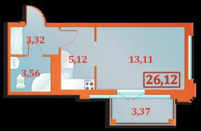 ЖК «Бенуа-2», планировка студии, 26.12 м²