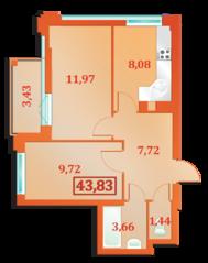 ЖК «Бенуа-2», планировка 2-комнатной квартиры, 43.83 м²