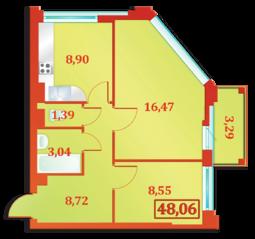 ЖК «Бенуа-2», планировка 2-комнатной квартиры, 48.06 м²