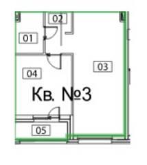 ЖК «Микрогород «В лесу», планировка 1-комнатной квартиры, 48.00 м²