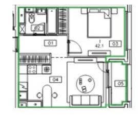ЖК «Микрогород «В лесу», планировка 1-комнатной квартиры, 42.10 м²