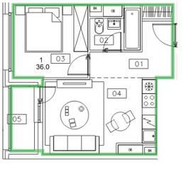 ЖК «Микрогород «В лесу», планировка 1-комнатной квартиры, 36.00 м²