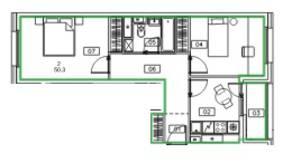 ЖК «Микрогород «В лесу», планировка 2-комнатной квартиры, 50.30 м²