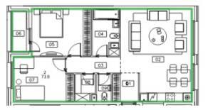 ЖК «Микрогород «В лесу», планировка 2-комнатной квартиры, 73.90 м²